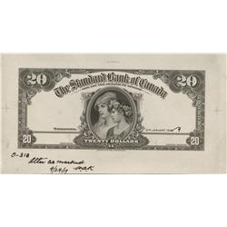 1919 Standard Bank of Canada $20 Front & Back Proof