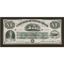 1880 Union Bank of Newfoundland One Pound