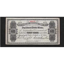 1907 Newfoundland 40 Cents Cash Note