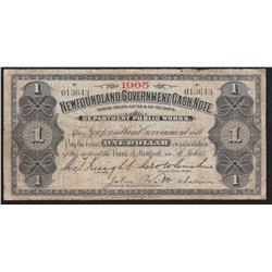 1905 Newfoundland One Dollar Cash Note