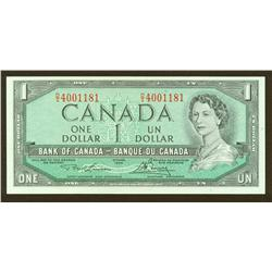 1954 Bank of Canada $1 Rare Laser Marked Test $1