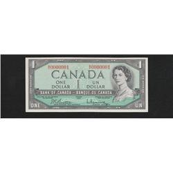 1954 Bank of Canada $1 Serial #W\O 0000001