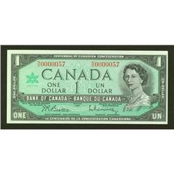 1967 Bank of Canada $1 Low Serial Number N/O0000057