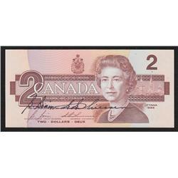 1986 Bank of Canada $2 Bonin & Thiessen Signature Note