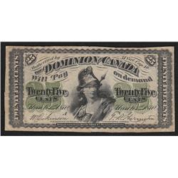 1870 Dominion of Canada Shinplaster 25 Cents