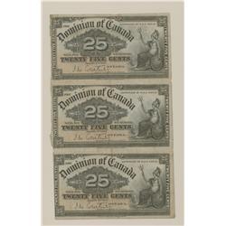 Sheet of Three 1900 Dominion of Canada Shinplasters