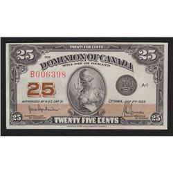 1923 Dominion of Canada Shinplaster 25 Cents