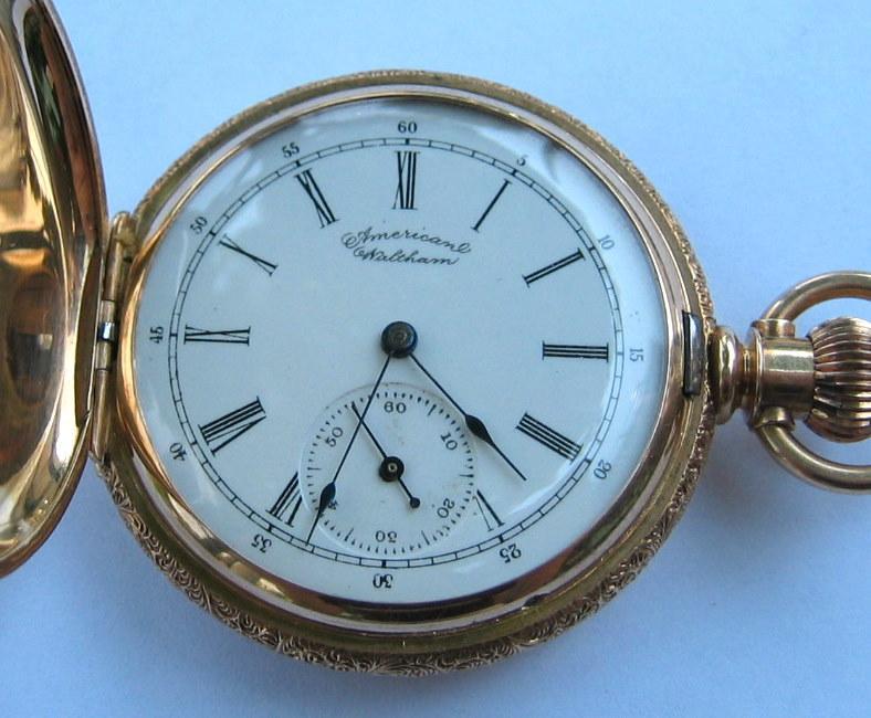 14 carat gold engraved American Waltham pocket watch #5356389, 1891