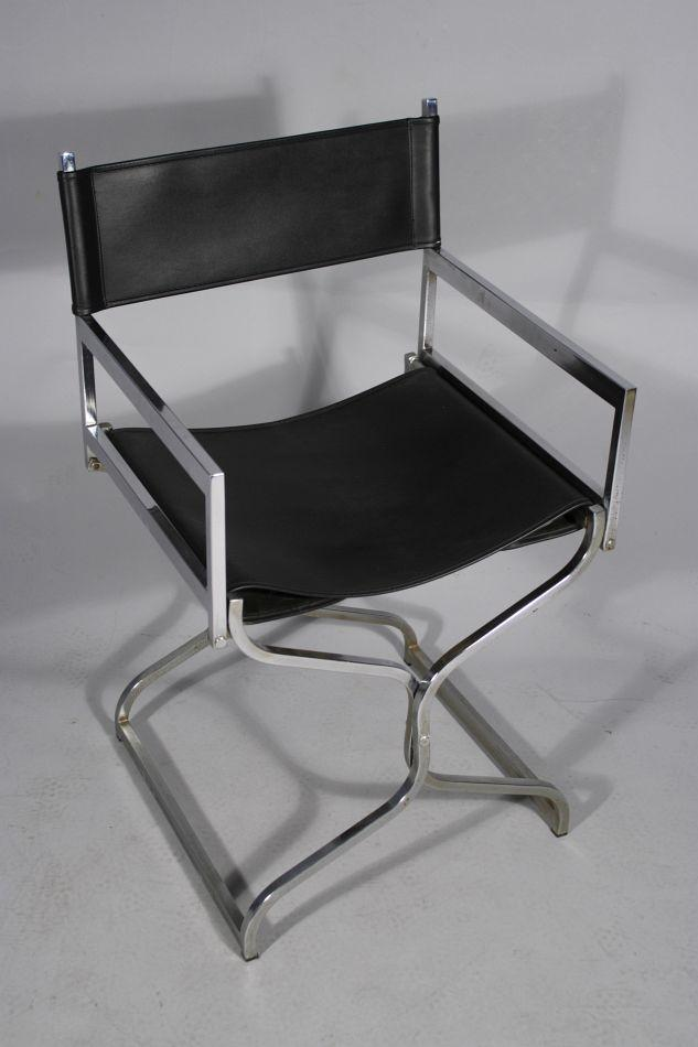 Fabulous A Chrome And Black Leather Folding Chair Pabps2019 Chair Design Images Pabps2019Com