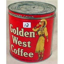 VINTAGE GOLDEN WEST COFFEE CAN - 3 LB. SIZE - EXCE