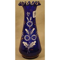 VICTORIAN ENAMELED / HAND PAINTED BLUE BUD VASE -