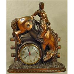 VINTAGE CAST METAL SESSIONS COWBOY ON BUCKING HORS