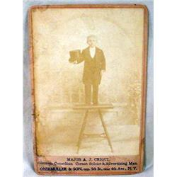 ANTIQUE CABINET CARD PHOTO OF WORLD'S SMALLEST MAN