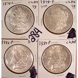4 MORGAN SILVER DOLLARS - ALL AU OR BETTER - 1878-