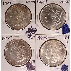 4 MORGAN SILVER DOLLAR ALL AU OR BETTER - 1880-S B