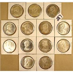LOT OF 13 1966 CANADIAN SILVER DOLLARS - Each 23.3