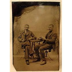 ANTIQUE TINTYPE PHOTO OF MEN PLAYING CARDS DRINKIN