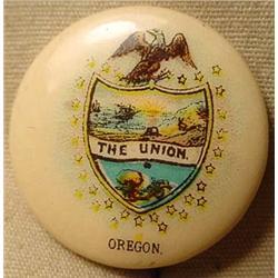 "1896 PATRIOTIC ""THE UNION"" OREGON STATE SEAL PINBA"