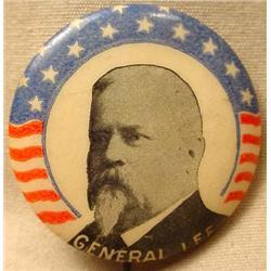 1900 GENERAL LEE PATRIOTIC CELLULOID PINBACK BUTTO