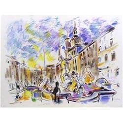 Wayne Ensrud, Piazza Navonna, Rome, Lithograph