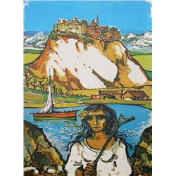 Jorge Dumas, Italian Landscape, Lithograph