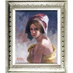 P. Alfieri, Woman in Yellow, Painting