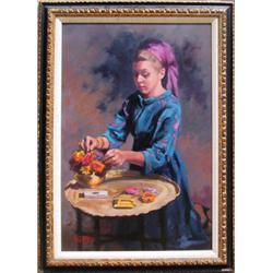 P. Alfieri, Girl Making Bouquet, Painting