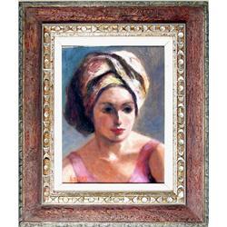 P. Alfieri, Portrait of Woman in Pink, Painting