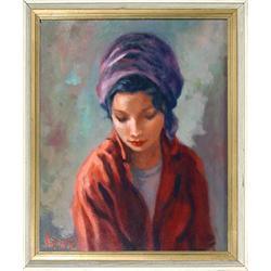 P. Alfieri, Portrait of a Girl, Painting