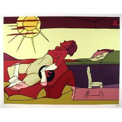 Valerio Adami, Reclining in the Sun, Silkscreen