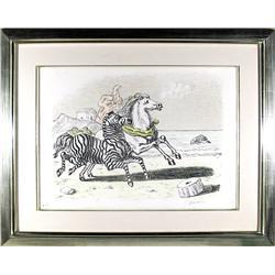 Giorgio De Chirico, Zebra e Cavallo, Lithograph