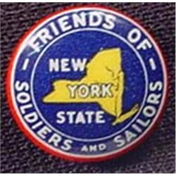 VINTAGE WW2 FRIENDS OF NY SOLDIERS PINBACK BUTTON