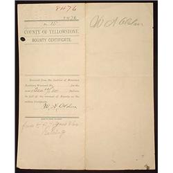 1889 TERRITORY OF MONT. BOUNTY CERTIFICATE FOR SKI