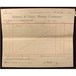 1896 HELENA AND FRISCO MINING CO. RECEIPT - IDAHO