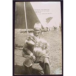 RARE 1909 RPPC REAL PHOTO POSTCARD OF GERONIMO AS