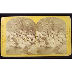 """""""EXPEDITION OF 1873"""" STEREOVIEW CARD APACHE NATIVE"""