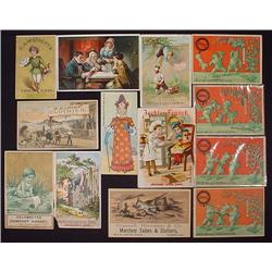 LOT OF 13 VICTORIAN TRADE CARDS - Incl. Sapanule S