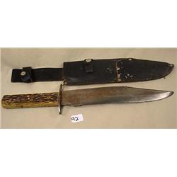 VINTAGE LARGE BOWIE HUNTING KNIFE W/ SHEATH - Wear
