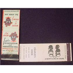LOT OF 2 VINTAGE BLACK AMERICANA MATCH COVERS - In