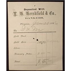 1866 GOLD DUST AND COIN BANK RECEIPT - VIRGINIA CI