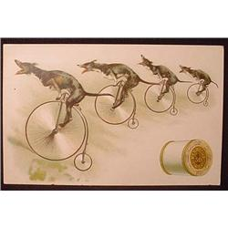 VICTORIAN TRADE CARD FANTASY DOGS RIDING BICYCLES