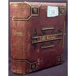 1876 LEATHER BOUND PHOTO ALBUM W/ 28 CDV PHOTOS -