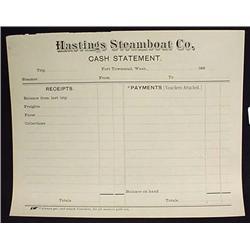 1890 HASTINGS STEAMBOAT CO. BILLHEAD STATEMENT - P