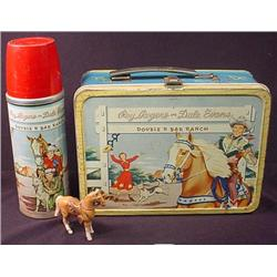 VINTAGE ROY ROGERS LUNCH BOX W/ THERMOS AND TOY HO