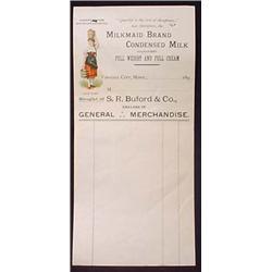 C. 1890'S MILKMAID BRAND CONDENSED MILK BILLHEAD -