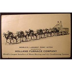 VINTAGE ADVERTISING CARD HOLLAND FURNACE WORLDS LA