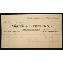 1903 SMITH AND STERLING DAY SCAVENGERS BILLHEAD BU