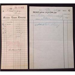 LOT OF 2 1912 PRE-PROHIBITION MONTANA LIQUOR CO. B