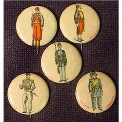 LOT OF 5 ANTIQUE CELLULOID SOLDIERS PINBACK BUTTON