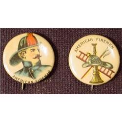 LOT OF 2 1896 CELLULOID FIREMAN PINBACK BUTTONS -